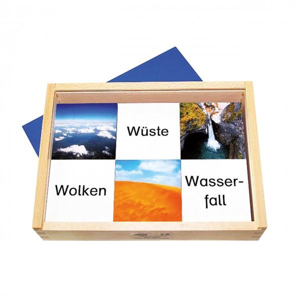 Wort-Bild-Memo in Holzkasten