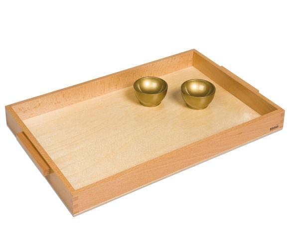 Holztablett mit 2 goldenen Holzschälchen