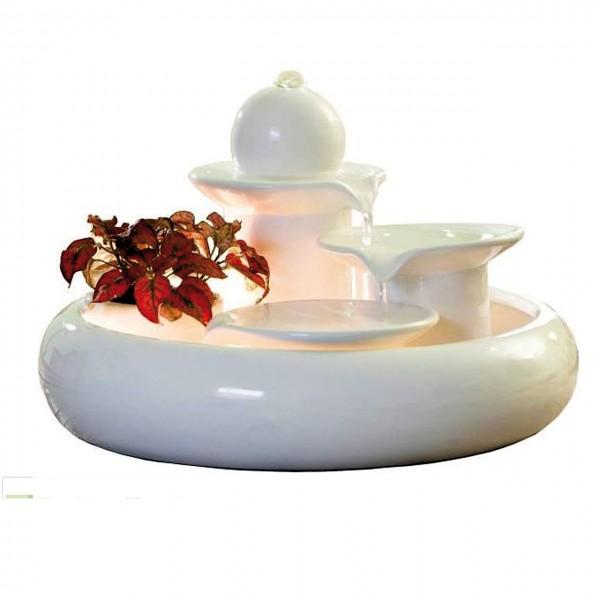 Keramikbrunnen Solerno creme- weiß