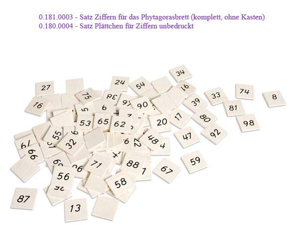 Ersatz-Ziffernsatz für Phytagorasbrett Nienhuis