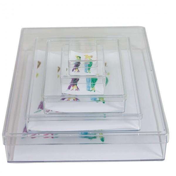 Kunststoffbox mit Stülpdeckel, glasklar