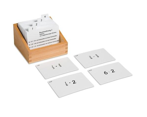 Kasten mit Aufgabenkarten für das Bruchrechnen 3
