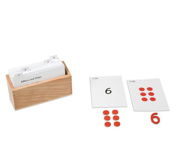Kasten mit Aufgabenkarten für die Ziffern und Chips Nienhuis