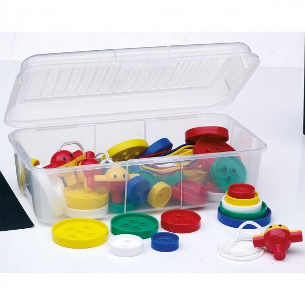 Materialsammlung Fädelknöpfe sort. in Aufbewahrungsbox