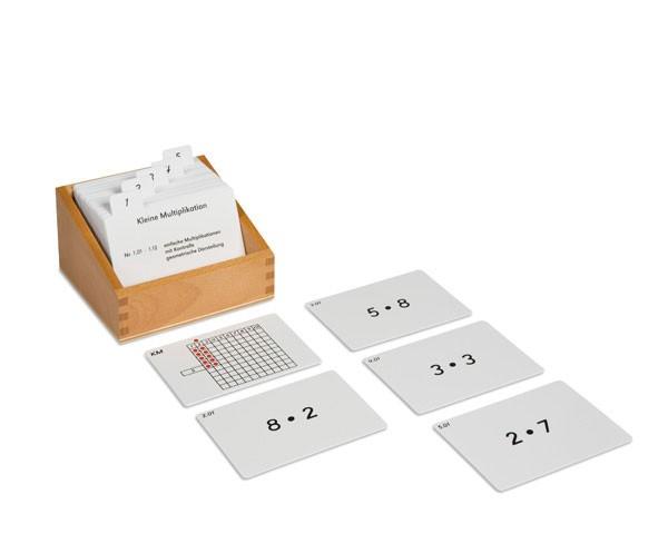 Kasten mit Aufgabenkarten für das Kleine Multiplikationsbrett