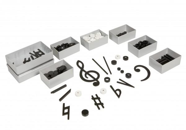 Satz Notenschriftzeichen in 8 Kunststoffdosen