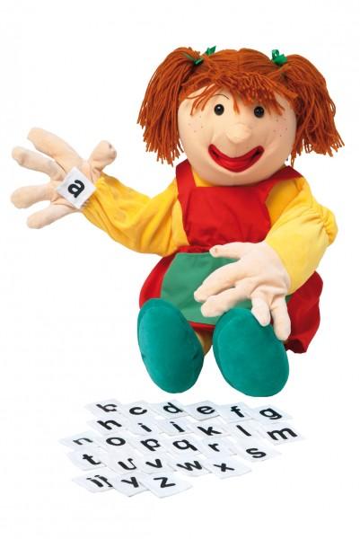 Sprechpuppe Samantha mit Buchstaben