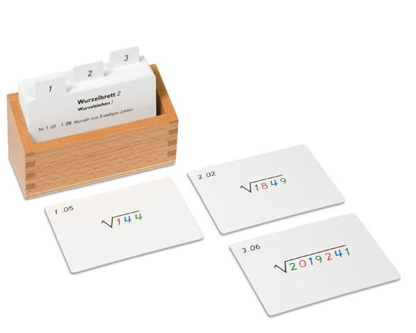 Kasten mit Aufgabenkarten zum Wurzelbrett 2 (Wurzelziehen)