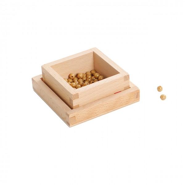 Holzdose mit 100 goldenen Einerperlen, lose Perlen, (GAM)