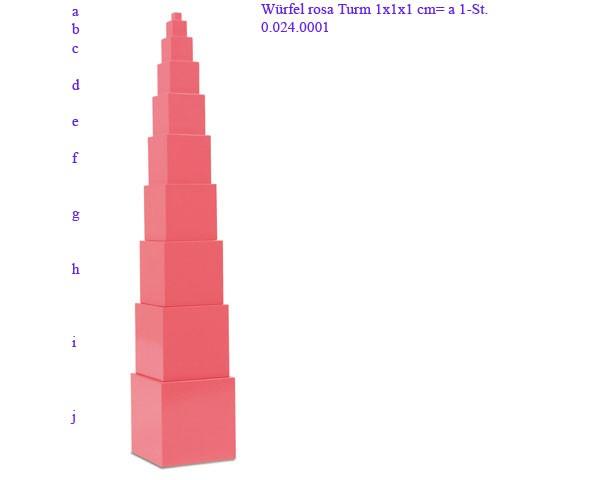 Rosa Turm - Würfel 2 x 2 x 2