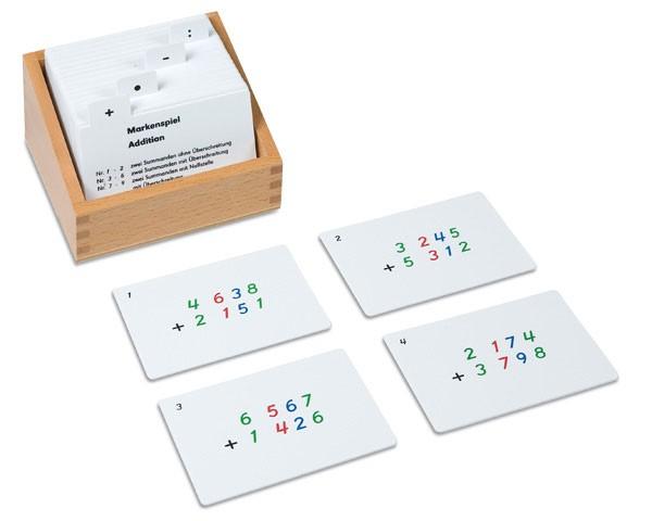 Kasten mit Aufgabenkarten für dasMarkenspiel Nienhuis