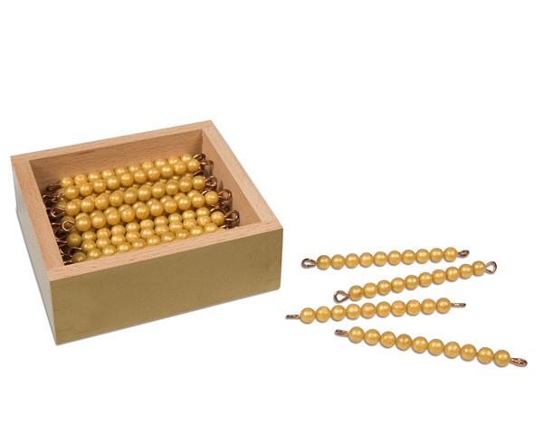 Kasten mit 45 goldenen Zehnerstangen lose Perlen