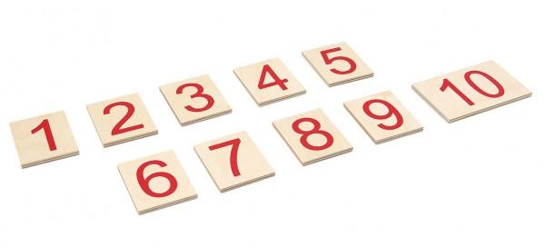 Satz Ziffern auf Holzbrettchen von 1 bis 10 (GAM)