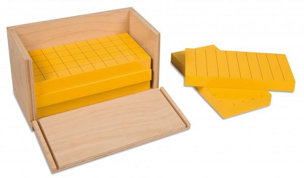 Satz mit 5 gelben Prismen im Kasten