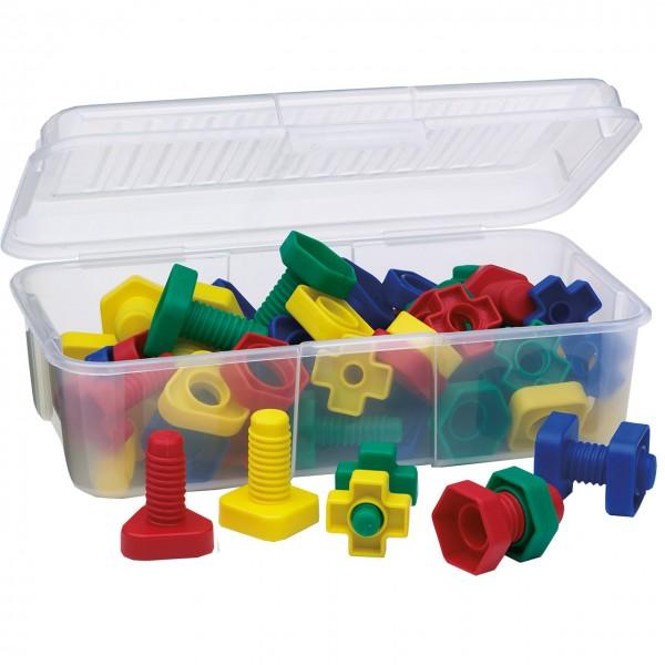 Materialsammlung Schrauben und Muttern in Aufbewahrungsbox