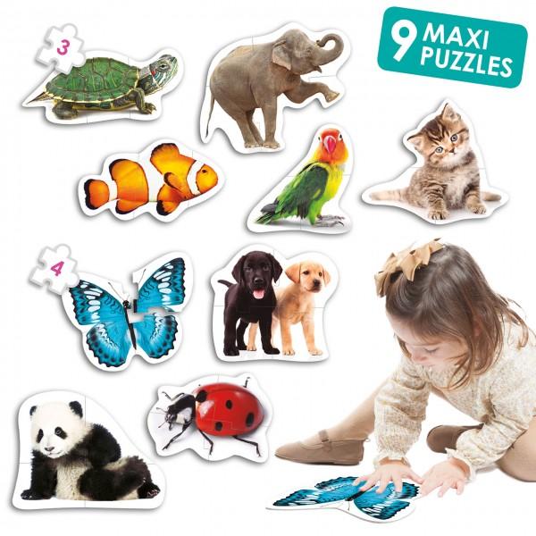 Maxi Puzzle Tiere mit 9 Puzzle
