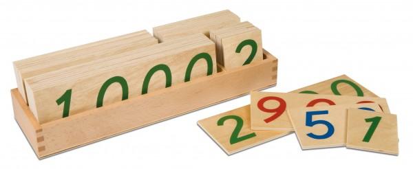 Große hölzerne Zahlenkarten 1-9000 im Kasten
