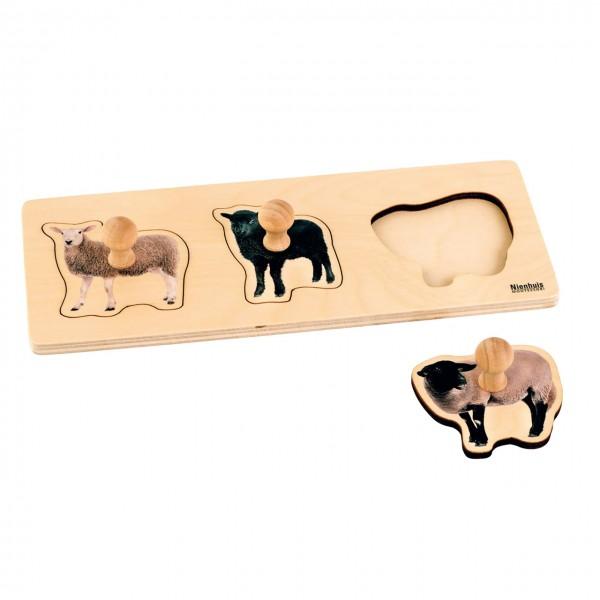 Toddler Puzzle 3 Schafe Steckpuzzle 29,4 x 12 cm