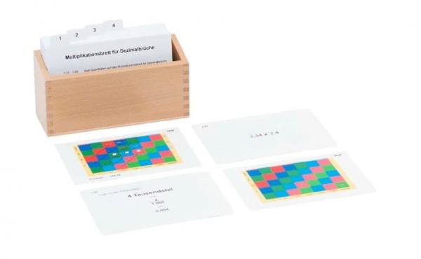 Kasten mit Aufgabenkarten für das Multiplikationsbrett für Dezimalbrüche Nienhuis
