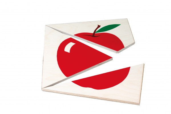 Apfelpuzzle mit 3 Teilen