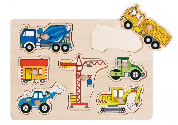 Knöpfepuzzle Baufahrzeuge
