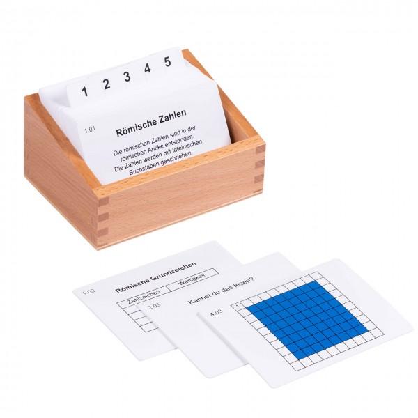 Kasten mit Aufgabenkarten zu den römischen Zahlen