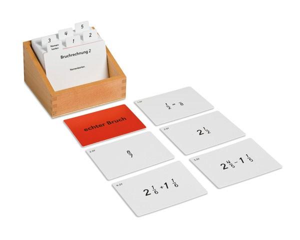 Kasten mit Aufgabenkarten für das Bruchrechnen 2