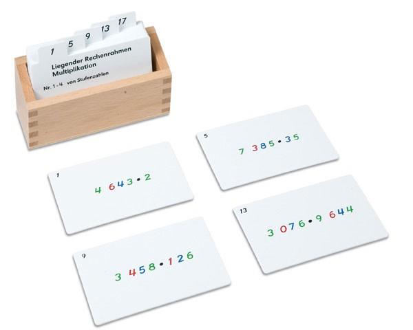 Kasten mit Aufgabenkarten für den Liegenden Rechenrahmen)