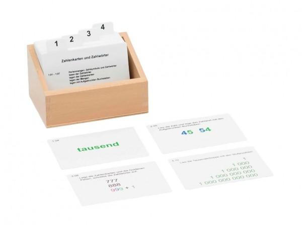 Kasten mit Aufgabenkarten für die Seguintafeln 10-19