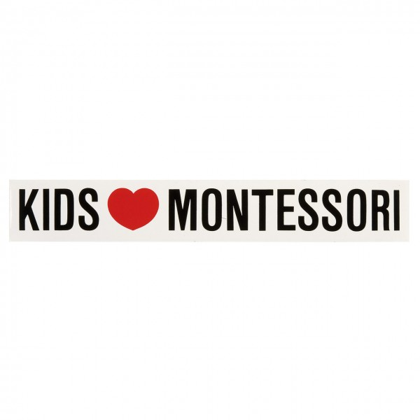 Aufkleber Kids Love Montessori lang